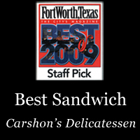 Awarded to Carshon's Deli